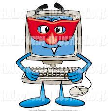 halloween clip art of a superhero desktop computer mascot cartoon