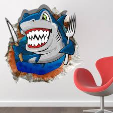 3d room cartoon shark ocean sea wall decals 2045 3d