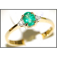 emerald jewelry rings images Emerald diamond jewelry solitaire 18k yellow gold ring rs0003 jpg