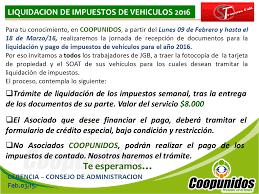 impuestos vehiculos valle 2016 coopunidos circular para liquidación y pago de impuestos 2016