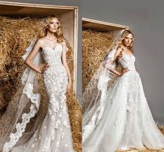 wedding dress with detachable discount zuhair murad lace modest wedding dress with
