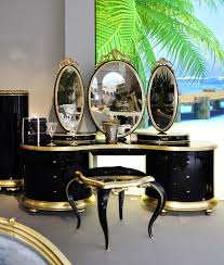 aico hollywood swank vanity luxury dressing table luxury high gloss black and gold carved