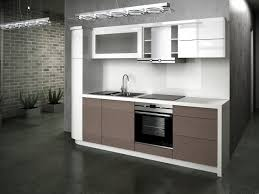 pretty straight shape small modern kitchen with wall mounted