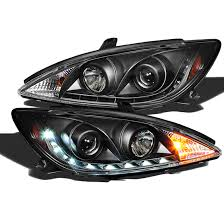 2002 2004 Toyota Camry Led Drl Strip Projector Headlights Black