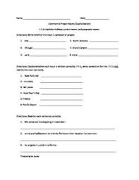 2nd grade capitalization worksheet or assessment common core l2 2a