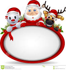 santa claus deer and snowman with blank sign stock photography