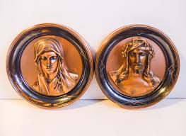 Copper Wall Decor by Vintage Jesus U0026 Mary Copper 3d W Etchings Wall Plaques Round