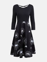 casual halloween spider web print flare dress in black 2xl