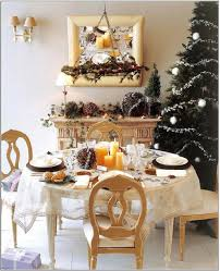 most decoration dining table with christmas tree and mantel candle