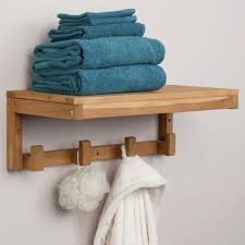 Wooden Shelves For Bathroom Teak Towel Shelf With Square Hangers Bathroom