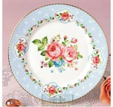 jual piring makan shabby chic plate vintage rose blue ga