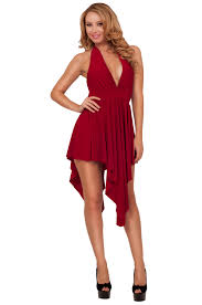 women halter backless empire waist high low party evening cocktail