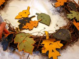 How To Make Halloween Wreaths by How To Make A Fall Felt Leaf Wreath Hgtv
