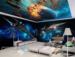 space wall murals idecoroom 3d star wall spacecraft battle wall murals wallpaper paper art print decor idcqw 000340