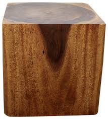 Wood Block Side Table Sustainable Monkey Pod Wood Cube End Table Farmhouse Side