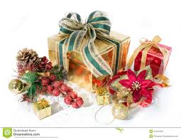 christmas gift packages gift packages christmas and golden with decorations stock