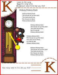 circle the letter k worksheet and hickory dickory dock song for