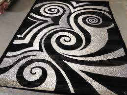 Modern Black Rug Modern Circle Area Rug Black White Gray Circles Swirls Brush