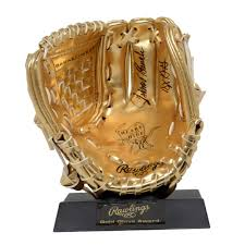 Johnny Bench Fingers Johnny Bench Autographed Rawlings Mini Gold Glove Award With