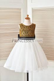 gold lace ivory tulle flower dress with black belt and big