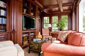 modern craftsman living room with coral couch and coffered wooden