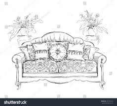 Couch Drawing Cozy Interior Draw Sofa Ornate Decor Stock Vector 297334616