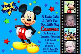 Birthday Invitation Card Sample Mickey Mouse Birthday Invitation Kawaiitheo Com