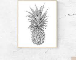pink pineapple art print pineapple watercolor wall art