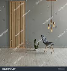Gray Laminate Flooring Gray Wall Front Modern Wooden Separator Stock Photo 401695459
