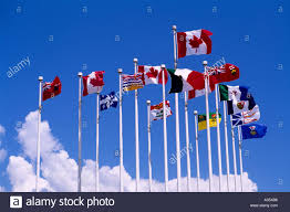 Canadian Provincial Flags Canadian National Flags With The Red Maple Leaf Fly With Canadian
