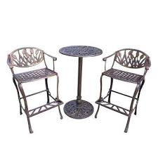 Solid Cast Aluminum Patio Furniture by Bar Height Dining Sets Outdoor Bar Furniture The Home Depot