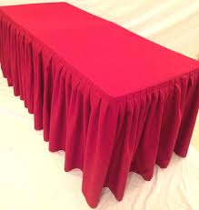 Pleated Table Covers 6 U0027 Ft Fitted Polyester Double Pleated Table Skirt Cover W Top