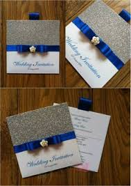 Royal Blue And Silver Wedding Royal Blue And Silver Glitter Wallet Wedding Invitation With Small