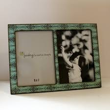 4x6 or 5x7 2 photo picture frame turquoise black scroll