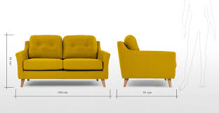 Best Price Two Seater Sofa Rufus 2 Seater Sofa Mustard Yellow Made Com