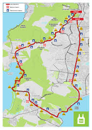 Emirates Route Map by Route For 56km Old Mutual Two Oceans Marathon
