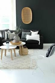 déco canapé noir déco salon deco nordique avec tapis beige et canapé gris mur