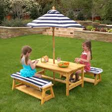 Outside Table And Chair Sets Kidkraft Outdoor Table And Chair Set With Cushions In Navy Stripe