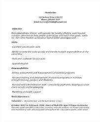 Instructor Resume Samples Sample Fitness Instructor Resume Weight Loss Personal Trainer