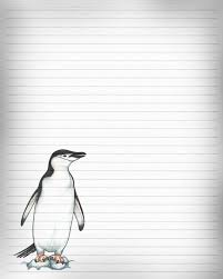 printable animal lined paper printable penguin journal page penguin stationery lined