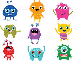 halloween birthday clipart cute vector monsters or aliens creatures for halloween and for