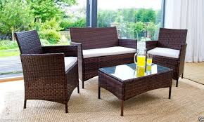 rattan garden furniture set chairs sofa table outdoor patio