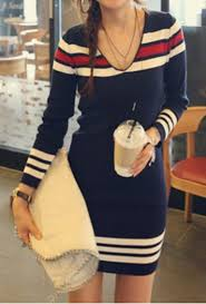 dress blue red white casual fall trendy long