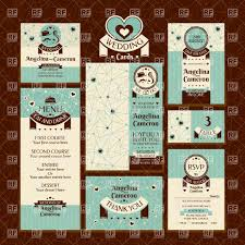 set of retro style wedding cards invitations table cards and