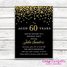 60th birthday black gold foil confetti male birthday invitation