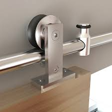 sliding barn door track and rollers shop stainless glide 78 75 in stainless steel interior barn door