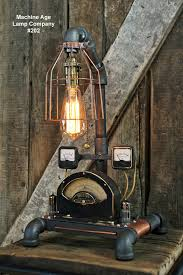 steampunk lamp brass meter and copper base spokane recycling artist