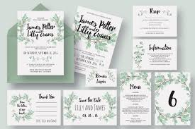 wedding invitations packages eucalyptus wedding invitation suite invitation templates