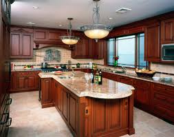 u shape kitchen design using red rustic cherry kitchen cabinets