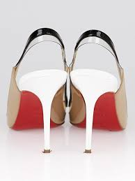 christian louboutin beige black white patent leather pvc paulina